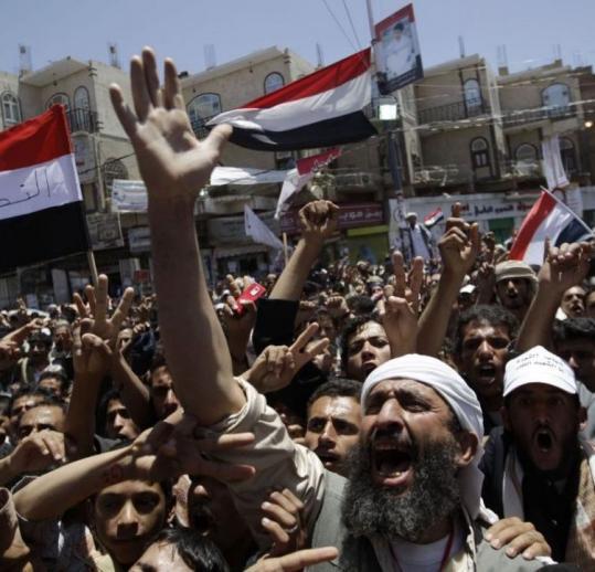 Antigovernment protesters demanded the ouster of Yemen's president, Ali Abdullah Saleh, outside Sana University.