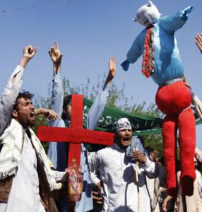 Protesters held an effigy of President Obama and a cross during a rally yesterday in Jalalabad, Afghanistan.