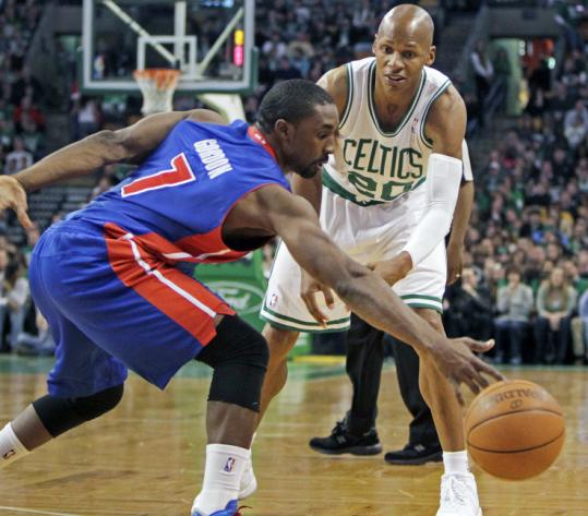 Detroit's Ben Gordon steals a bounce pass attempt by a fellow UConn alum, the Celtics' Ray Allen, in the first half.