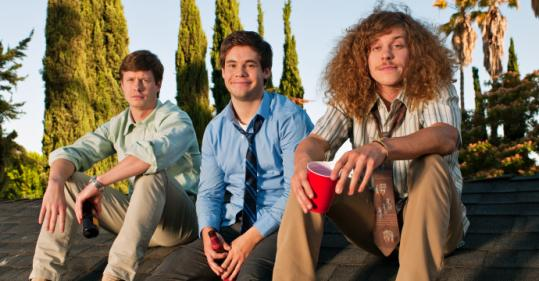 "From left: Anders Holm, Adam DeVine, and Blake Anderson play telemarketer roommates in ""Workaholics.''"