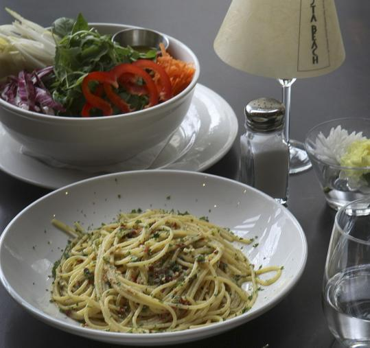 Spaghetti aglio e olio peperoncino is cooked to perfection at Pasta Beach, on Rowes Wharf.