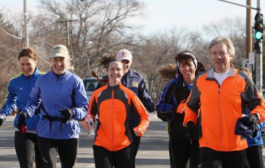 Steve George, on a recent Boston Marathon training run, is raising funds for ALS research with his Hopkinton Athletic Association entry.