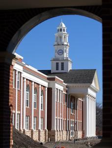 The new Norwood High has columns and a clock tower similar to the façade of the old building.