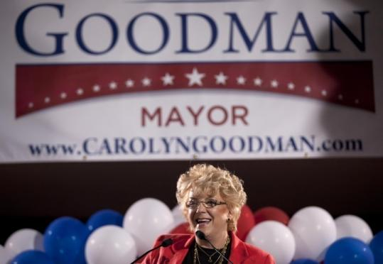 Carolyn Goodman, wife of Mayor Oscar Goodman of Las Vegas, has vowed to carry on his vision for transforming downtown.