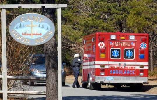 An ambulance left Camp Good News in Sandwich, where a longtime camp worker was found dead yesterday.