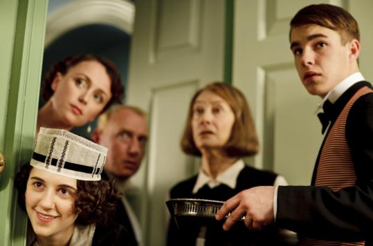 "From left: Ellie Kendrick, Keeley Hawes, Adrian Scarborough, Jean Marsh, and Nico Mirallegro in ""Upstairs Downstairs.''"