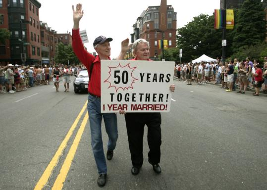 Ralph Hodgdon (left) and Paul McMahon marched in the Boston Gay Pride Parade in 2005.
