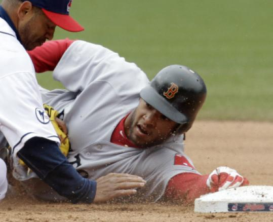 Darnell McDonald was tagged out to end Boston's hopes of victory yesterday. C1.
