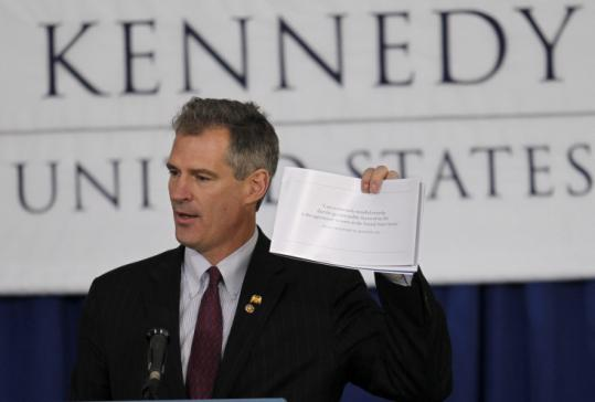 Scott Brown spoke yesterday at the groundbreaking for the Edward M. Kennedy Institute for the United States Senate.