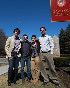 Boston College students (from left) Justin Pike, Matthew McCluskey, Katrina Lutfy, and Cliff Baratta are behind Mile21.