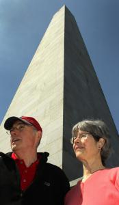 Gene and Kathy Hollis of South Portland, Maine, climbed to the top of the Bunker Hill Monument for their anniversary.
