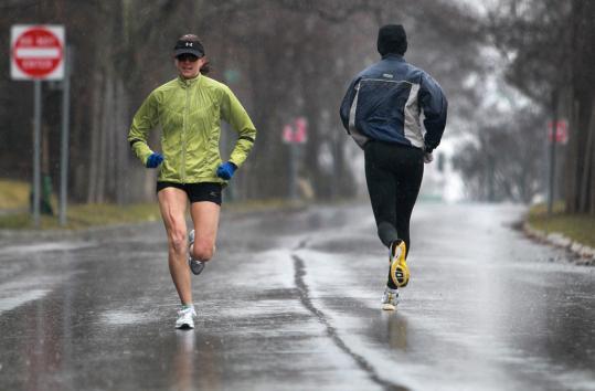 Kristina Pinto of Westford, training in Newton last month for Marathon Day.