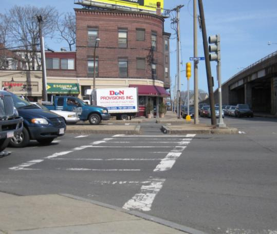 As are others in the area, this crosswalk on Washington Street at the intersection with Medford Street is faded.
