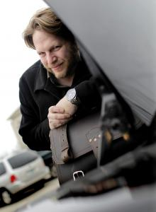In Amesbury, Chris Brogan is packed and ready to hit the road for another business flight.