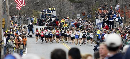 The annual start of the Boston Marathon in Hopkinton, and the surrounding hoopla.