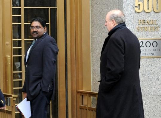 Galleon Group cofounder Raj Rajaratnam arrived at federal court in New York with his attorney yesterday.