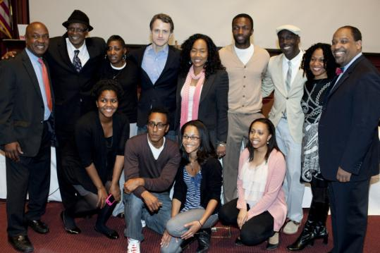 """Professor Charles Ogletree (far left) brought the creators and cast members of """"The Wire'' to Harvard Law School yesterday."""