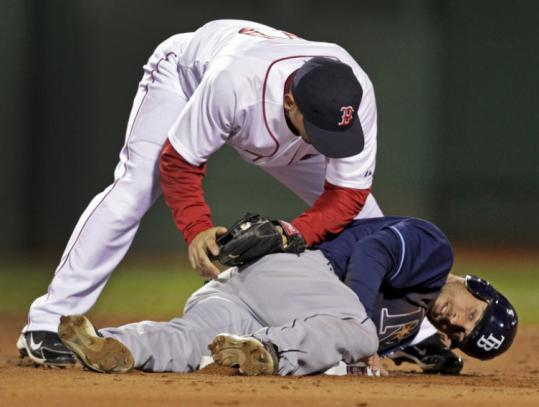 Sox shortstop Marco Scutaro leans on the Rays' Sam Fuld in the third inning with a tag, but Fuld has second base stolen.