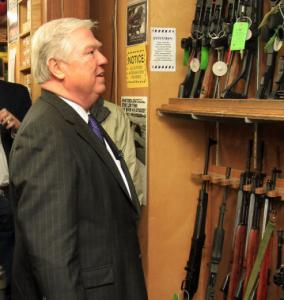 Mississippi governor Haley Barbour at Riley's Gun Shop yesterday in Hooksett, N.H.