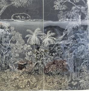 "The four-paneled ""Paysage Aregenté'' by Edouard Duval-Carrié."