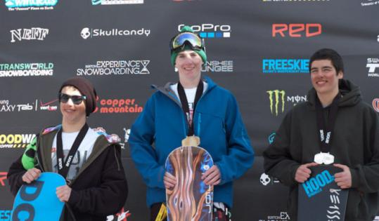 Fighting off the flu, Weston's Greg Fligor (center, above, and in action below) emerged victorious at the USA Snowboard Association's national slalom championship.