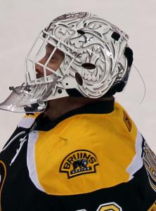 Bruins goaltender Tim Thomas has appeared uncomf