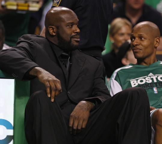 There's still a chance Shaquille O'Neal could be dressed in similar attire to Ray Allen for Game 2.