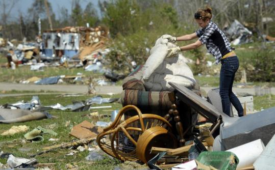 Melissa Jernigan sorted through the remains of her home in Askewville, N.C., one of the hardest-hit areas in the state.