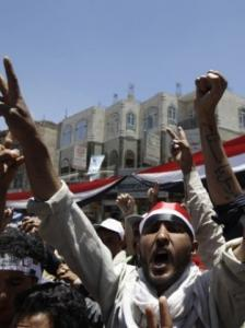 Protesters demonstrated yesterday in Sana, Yemen, calling for President Ali Abdullah Saleh to step down. Police responded with live ammunition, injuring 45 people.