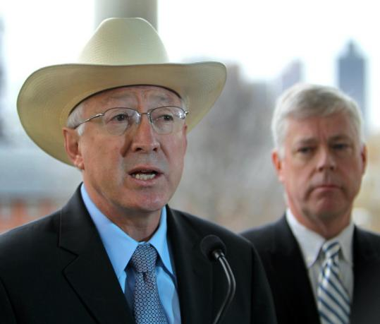 US Interior Secretary Ken Salazar announced US approval of the Cape Wind project yesterday at Charlestown Navy Yard.