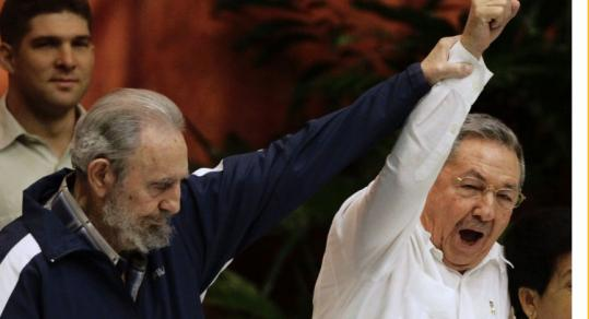 Fidel Castro showed his support for Raul Castro during the closing ceremony of the Cuban Communist Party congress.