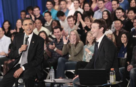 President Obama and Mark Zuckerberg, chief executive of Facebook, spoke during a town hall meeting discussing ways to reduce the national deficit yesterday at the social media company's headquarters in Palo Alto, Calif.