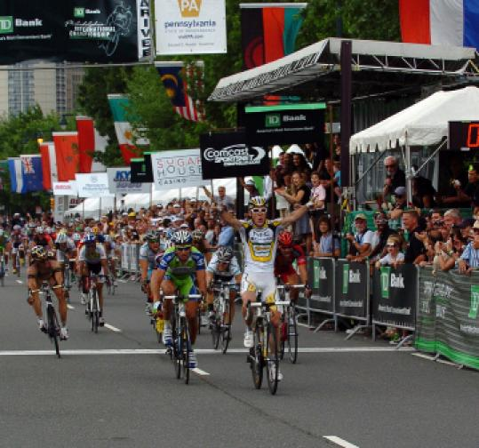 Rub elbows at the TD Bank Philadelphia International Cycling Championship.