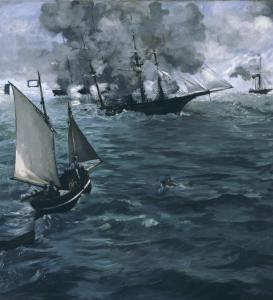 "From the Edouard Manet retrospective: ""Battle of the Kearsarge and Alabama'' was inspired by newspaper accounts of a Civil War duel."