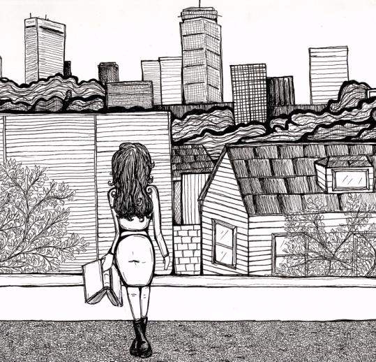 """Rooftop"" by Cambridge artist Alethea Jones is one of the illustrations in the new issue of The Inman Review literary journal, founded to highlight local artists and writers."