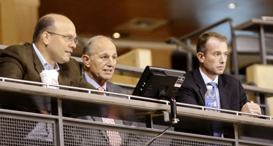 Bruins owner Jeremy Jacobs (center), with son Charlie (right), the team's executive vice president, and GM Peter Chiarelli, takes a lot of heat, but local fans could have it a lot worse.