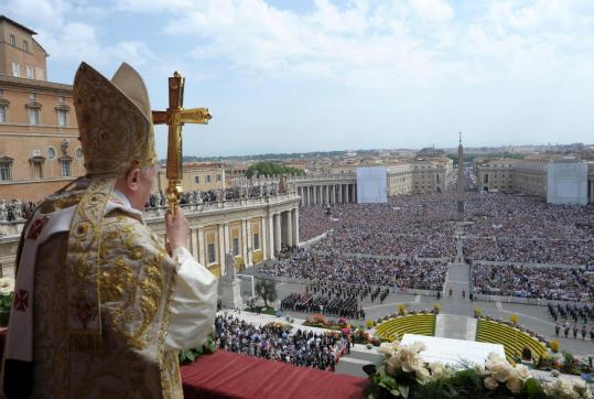 This photo released by the Vatican shows Pope Benedict XVI addressing the throngs in St. Peter's square in Rome yesterday.