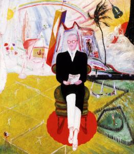 Florine Stettheimer's painting of Henry McBride shows her use of drastic contrasts in scale.