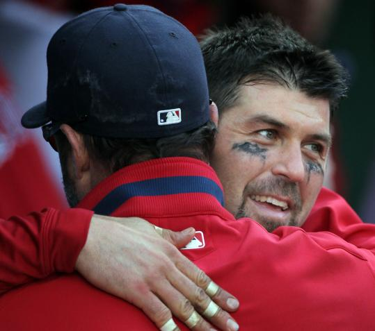 Jason Varitek's final game with the Red Sox could have been last Oct. 3 (above), but when Victor Martinez left, the team signed Varitek within 24 hours.