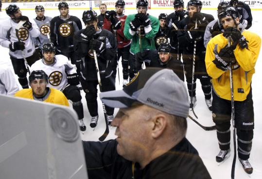 All eyes were on Bruins coach Claude Julien yesterday during a chalk talk session in preparation for tonight's Game 6 meeting against the Canadiens.