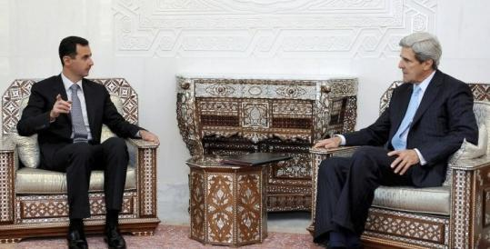 Syria's President Bashar al-Assad and Senator John Kerry met in November, one of Kerry's four trips to the country.