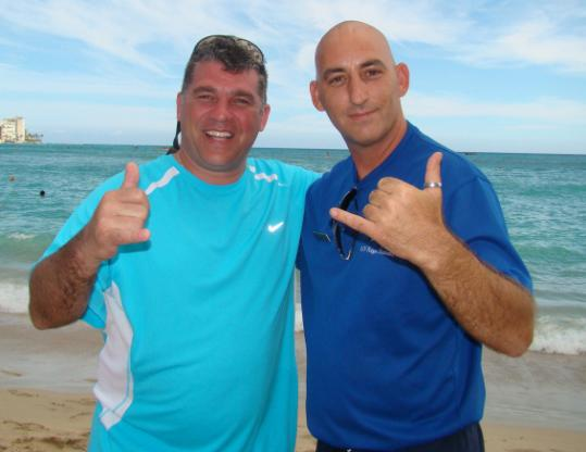 Brothers Rick Hill and Joe Parker met by chance on a beach in Hawaii.
