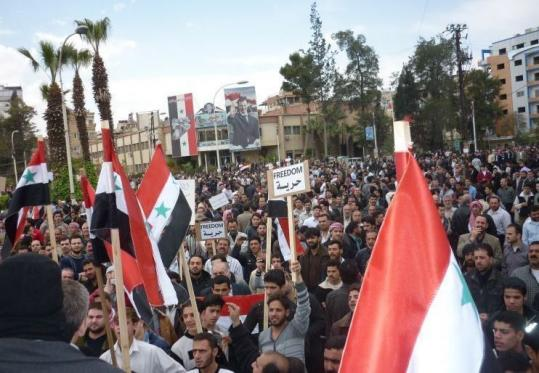 Protesters rallied in Douma in this April 7 photo that surfaced yesterday. Nearly all foreign media has been banned by Syria.