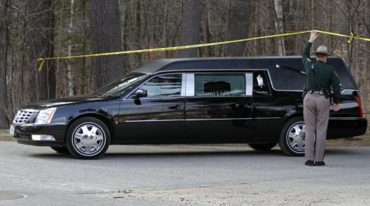 A New Hampshire state trooper lifted police tape so a hearse could leave Mount Cranmore ski area in North Conway, N.H., where Krista Dittmeyer&#8217;s car was found Saturday morning.