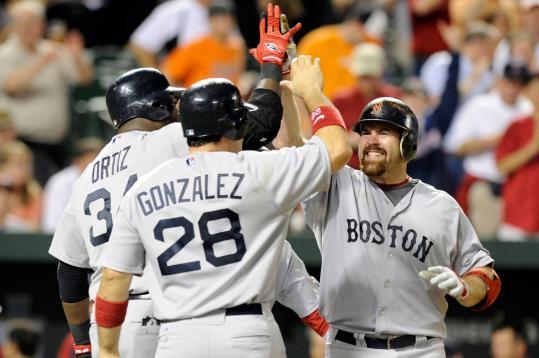 David Ortiz and Adrian Gonzalez had a little something for Kevin Youkilis after the third baseman's three-run blast.