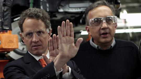 Treasury Secretary Timothy Geithner (left) and Chrysler CEO Sergio Marchionne talked at a Detroit Chrysler plant yesterday. The firm will use bank loans and bond sales to repay its debt.