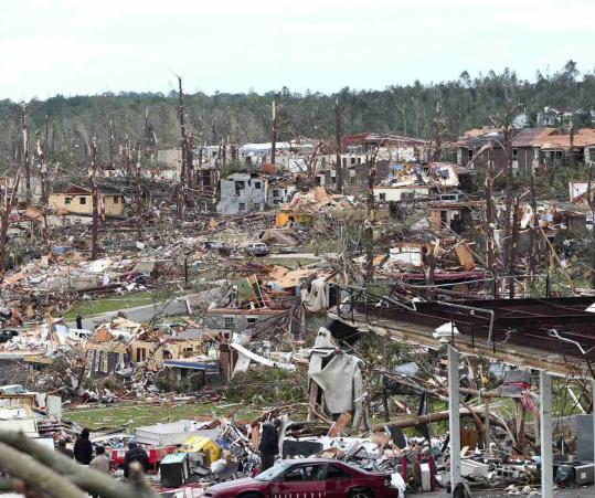 Part of Pratt City, a suburb of Birmingham, Ala., lay in ruins yesterday after a tornado struck overnight.