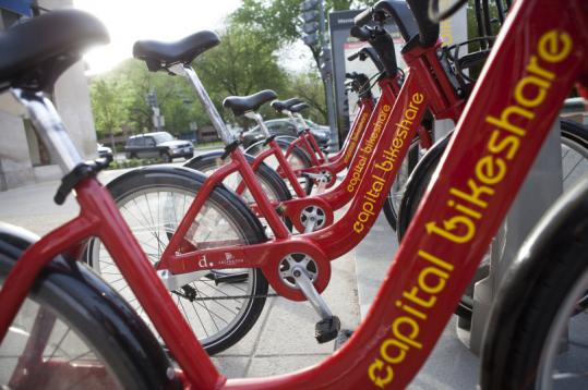 Capital Bikeshare in Washington has 100 stations like this one in the city, with bicycles for members' short-term use.