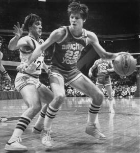 BYU's Danny Ainge is defended by Notre Dame's John Paxson in the 1981 Sweet Sixteen round. Ainge put himself on the map with the winning shot.