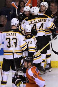 David Krejci is surrounded by his teammates after scoring the Bruins' first goal. He'd add another, and two assists.